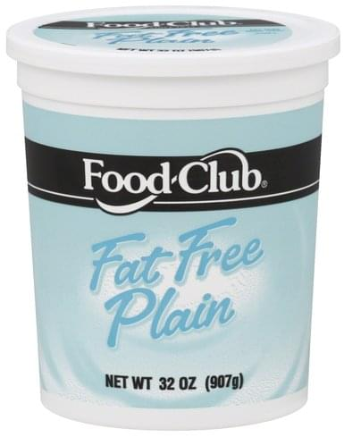 Food Club Nonfat, Fat Free Plain Yogurt - 32 oz