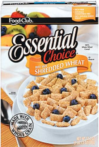 Food Club Essential Choice Shredded Wheat Bite Size Cereal - 17.2 oz