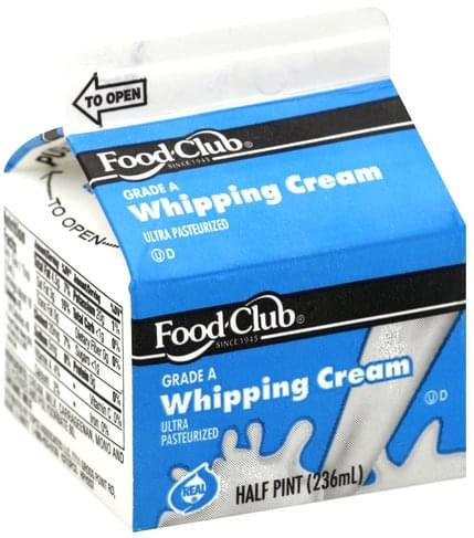 Food Club Whipping Cream - 0.5 pt