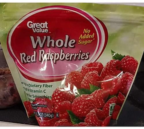 Great Value Whole Red Raspberries - 140 g