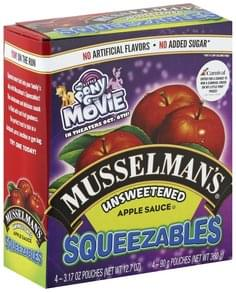 Musselmans Apple Sauce Unsweetened, Squeezables