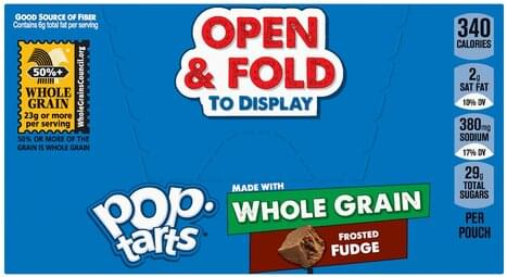 Pop Tarts Whole Grain, Frosted Fudge Toaster Pastries - 6 ea