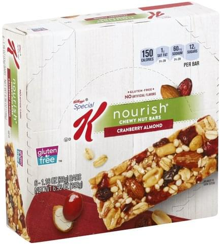 Special K Gluten-Free, Cranberry Almond Chewy Nut Bars - 6