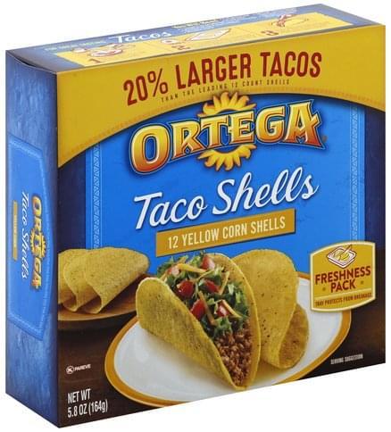 Ortega Yellow Corn Taco Shells - 12 ea