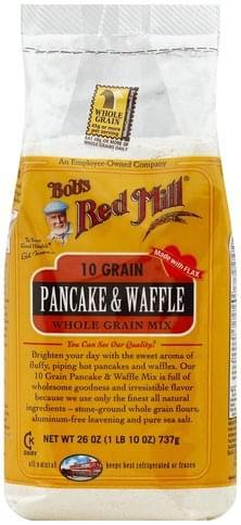 Bobs Red Mill Pancake & Waffle, 10 Grain Whole Grain Mix - 26 oz