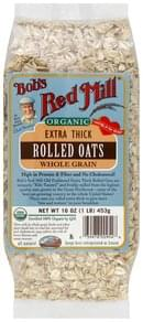 Bobs Red Mill Rolled Oats Whole Grain, Extra Thick, Organic