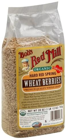 Bobs Red Mill Hard Red Spring, Organic Wheat Berries - 28 oz