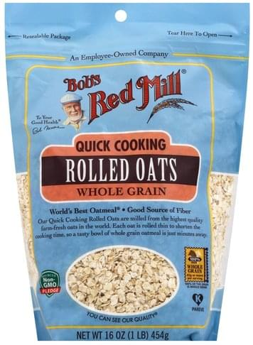 Bobs Red Mill Whole Grain, Quick Cooking Rolled Oats - 16 oz