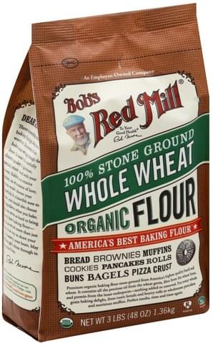 Bobs Red Mill Organic, 100% Stone Ground Whole Wheat Flour - 3 lb