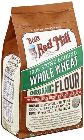 Bobs Red Mill Organic, Whole Wheat, 100% Stone Ground Flour - 80 oz