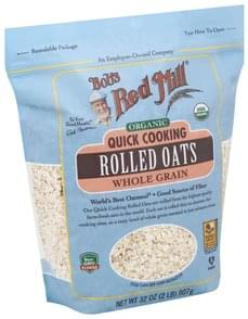 Bob's Red Mill Oats Rolled, Organic, Quick Cooking, Whole Grain