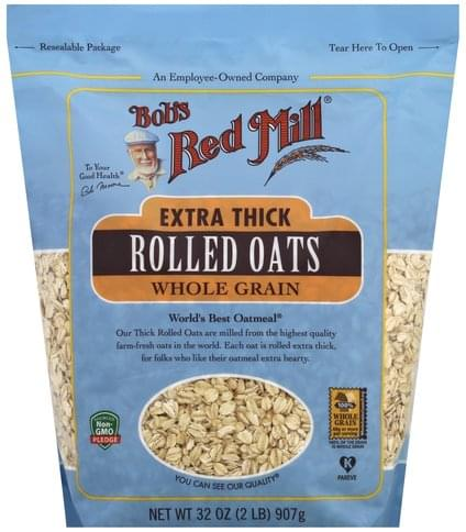 Bobs Red Mill Whole Grain, Extra Thick Rolled Oats - 32 oz