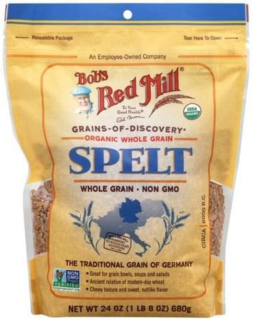 Bobs Red Mill Organic, Whole Grain Spelt - 24 oz