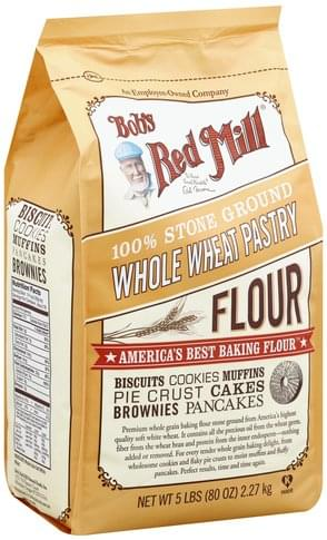 Bobs Red Mill Whole Wheat Pastry, 100% Stone Ground Flour - 80 oz