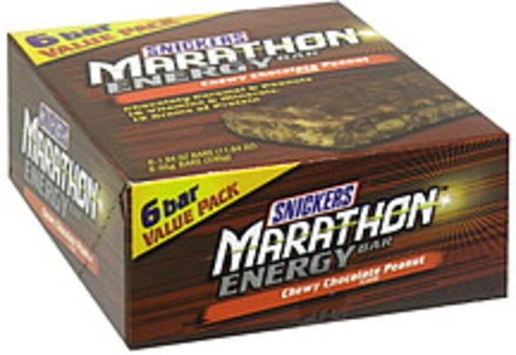 Snickers Chewy Chocolate Peanut Energy Bar - 6 ea