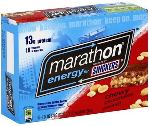 Snickers Chewy Chocolatey Peanut Energy Bar - 12 ea