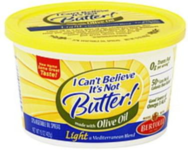 I Cant Believe Its Not Butter Vegetable Oil Spread 37%, Light, Mediterranean Blend, Made with Olive Oil