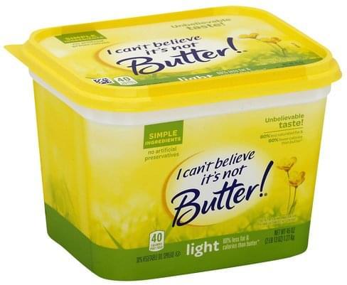 I Cant Believe Its Not Butter 30%, Light Vegetable Oil Spread - 45 oz