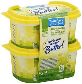 I Cant Believe Its Not Butter Vegetable Oil Spread 30%, Light, Twin Pack