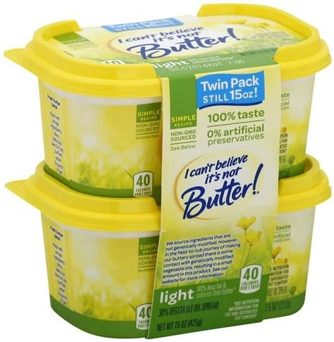 I Cant Believe Its Not Butter 30%, Light, Twin Pack Vegetable Oil Spread - 15 oz
