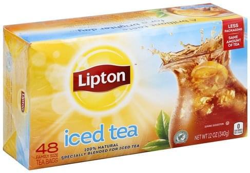 Lipton 100% Natural, Bags, Family Size Iced Tea - 48 ea