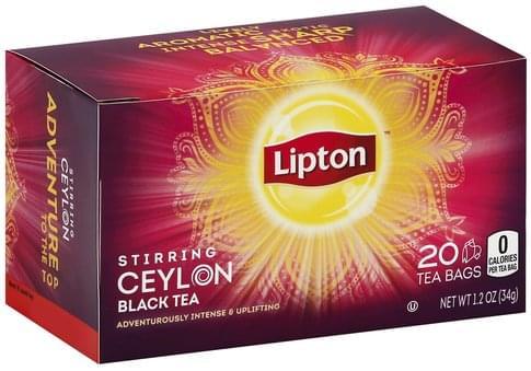 Lipton Stirring Ceylon, Bags Black Tea - 20 ea