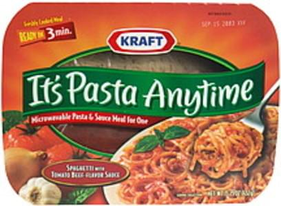 Pasta Anytime Pasta & Sauce Meal for One Microwaveable, Spaghetti with Tomato Beef-Flavor Sauce