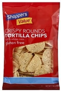 Shoppers Value Tortilla Chips Gluten Free, Crispy Rounds