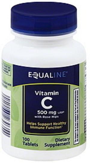 Equaline with Rose Hips, 500 mg, USP, Tablets Vitamin C - 100 ea