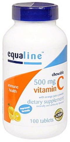 Equaline Vitamin C with Orange Juice Powder, 500 mg, Tablets Chewable