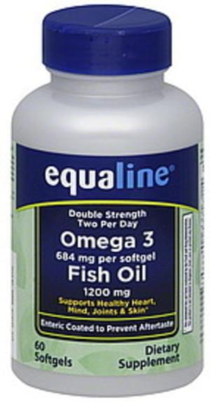 Equaline Double Strength, 1200 mg, Softgels Omega 3 Fish Oil - 60 ea