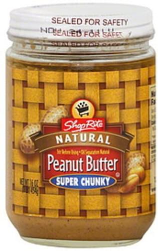 ShopRite Natural, Super Chunky Peanut Butter - 16 oz