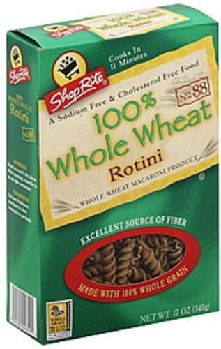 ShopRite 100% Whole Wheat, No. 88 Rotini - 12 oz