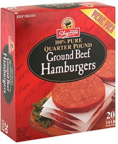 ShopRite Ground Beef Hamburgers - 20 ea