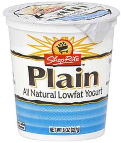 ShopRite Lowfat, Plain Yogurt - 8 oz