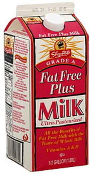 ShopRite Fat Free Plus Milk - 0.5 gl