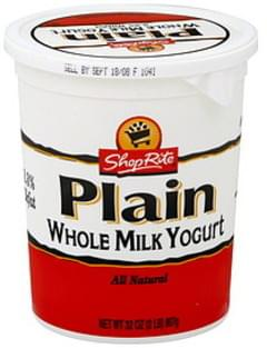 ShopRite Yogurt Whole Milk, Plain