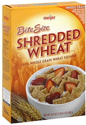 Meijer Shredded Wheat, Bite Size Cereal - 16.4 oz