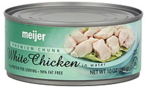 Meijer Chicken White, Premium Chunk, in Water