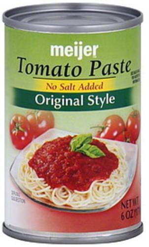 Meijer Original Style, No Salt Added Tomato Paste - 6 oz