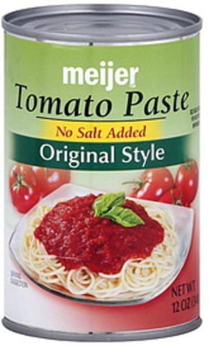Meijer Original Style, No Salt Added Tomato Paste - 12 oz