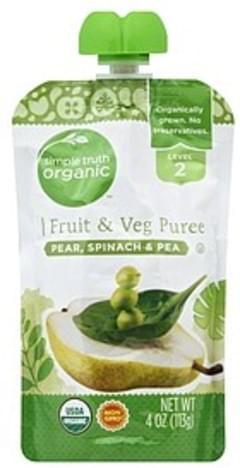 Simple Truth Organic Fruit & Veg Puree Pear, Spinach & Pea, Level 2