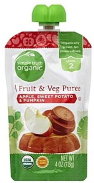 Simple Truth Organic Apple, Sweet Potato & Pumpkin, Level 2 Fruit & Veg Puree - 4 oz