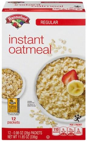 Hannaford Instant, Regular Oatmeal - 12 ea
