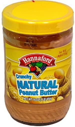 Hannaford Crunchy Natural Peanut Butter - 16 oz
