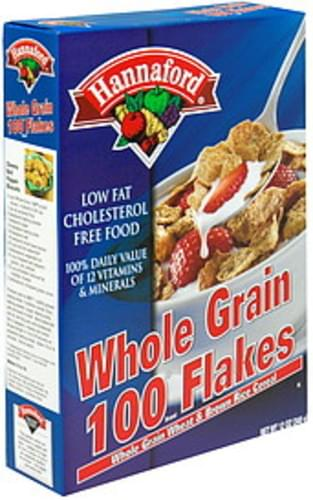 Hannaford Whole Grain 100 Flakes, Whole Grain Wheat & Brown Rice Cereal Cereal - 12 oz