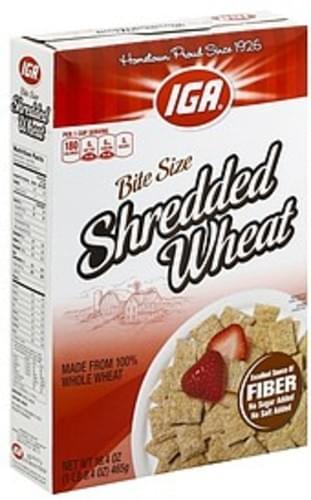 IGA Shredded Wheat, Bite Size Cereal - 16.4 oz