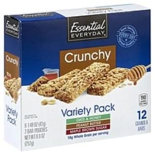Essential Everyday Granola Bars Crunchy, Variety Pack