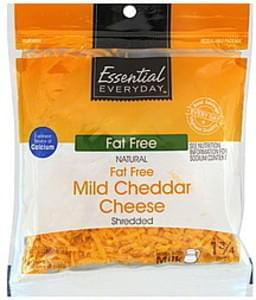 Essential Everyday Shredded Cheese Mild Cheddar, Fat Free