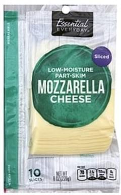 Essential Everyday Cheese Mozzarella, Low-Moisture, Part Skim, Sliced